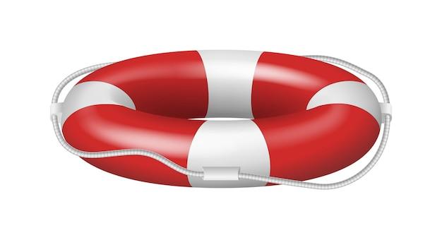 Salvare il modello di vista laterale del salvagente in gomma con strisce rosse e corda isolata su sfondo bianco. anello salvagente per salvataggio in acqua. illustrazione vettoriale 3d realistica