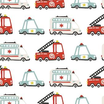 Modello senza cuciture di auto di servizi di soccorso, illustrazione infantile in stile scandinavo semplice disegnato a mano.