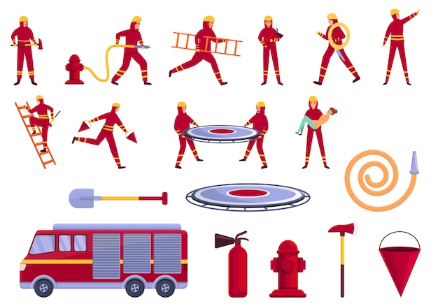 Set di icone di soccorritore, stile cartoon
