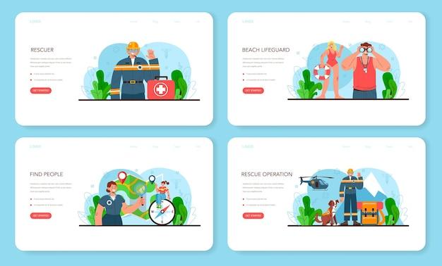 Banner web del soccorritore o set di pagine di destinazione per assistenza di emergenza bagnino di ambulanza