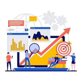 Concetti di ricerca e analisi con design di illustrazione di caratteri minuscoli