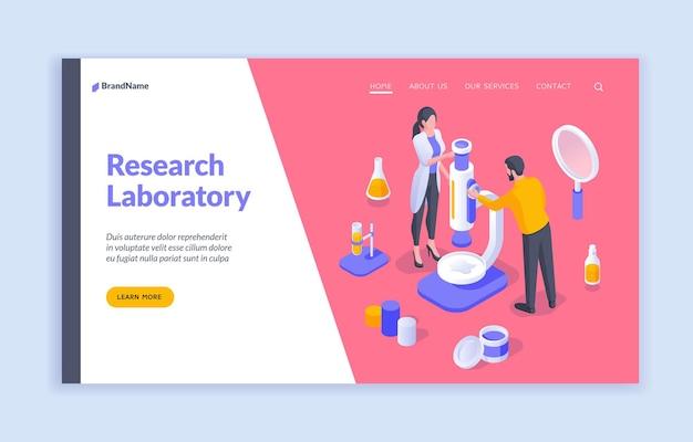Laboratorio di ricerca illustrazione isometrica del banner della pagina web