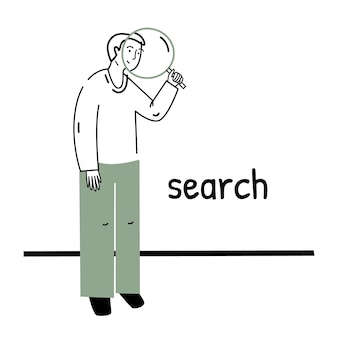 Ricerca e ricerca, il processo di lavoro, una persona con una lente d'ingrandimento.