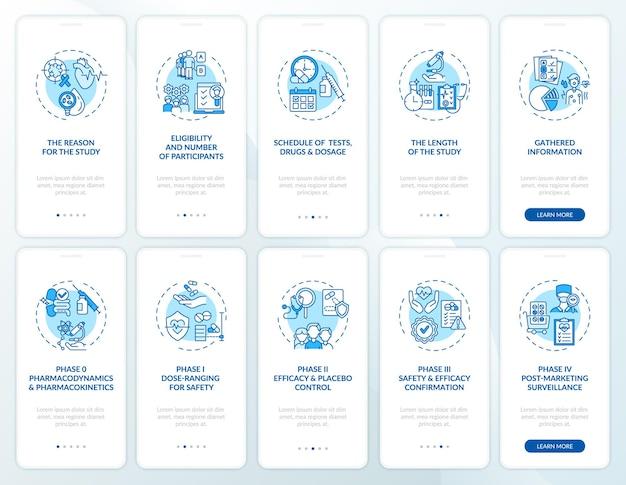 Studi di ricerca sul set di schermate della pagina dell'app per dispositivi mobili