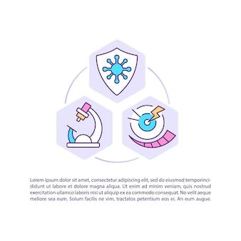 Icona di concetto di ricerca e trattamento con l'illustrazione del testo