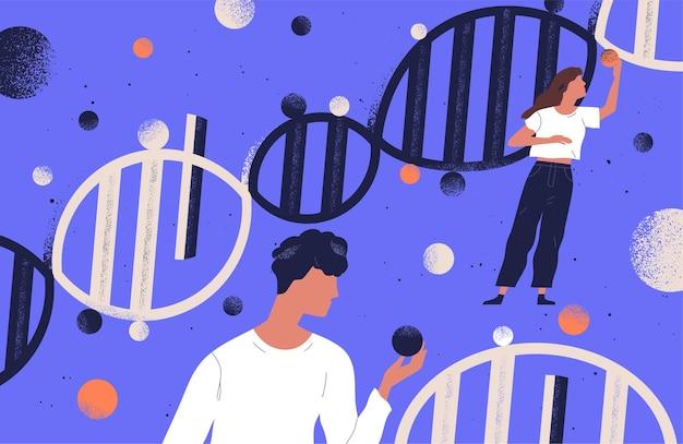 Ricercatori in possesso di molecole di dna illustrazione piatta. uomini e donne studiano i personaggi dei cartoni animati di ingegneria genetica. mutazione del genoma