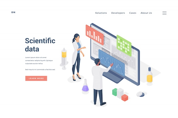 Ricerche che analizzano i dati scientifici su computer. illustrazione