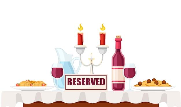 Segno riservato sul tavolo in bar o ristorante
