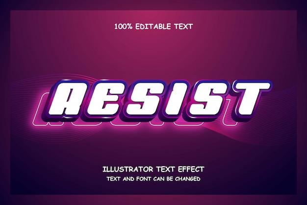 Resistere, 3d modificabile effetto testo blu rosa moderno stile ombra neon
