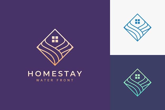Logo del resort o dell'hotel in un semplice rombo e onda oceanica