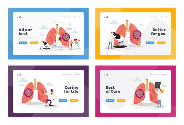 Set di modelli di pagina di destinazione per l'assistenza sanitaria di medicina respiratoria. i personaggi dei medici controllano i polmoni della tubercolosi umana con il vetro, fanno i raggi x, le cure polmonari. gente del fumetto