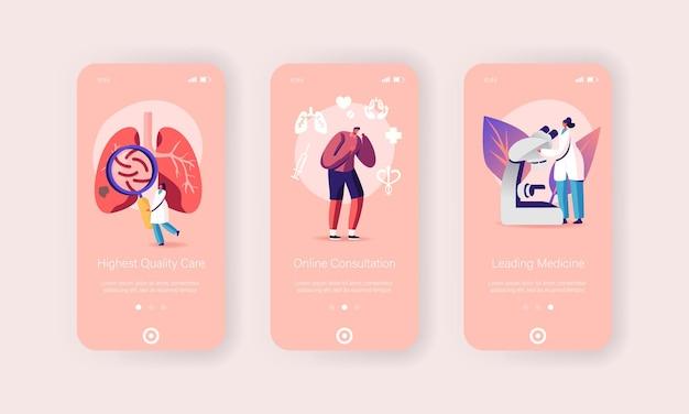 Set di modelli di schermata della pagina dell'app mobile per la medicina respiratoria, pneumologia, sanità