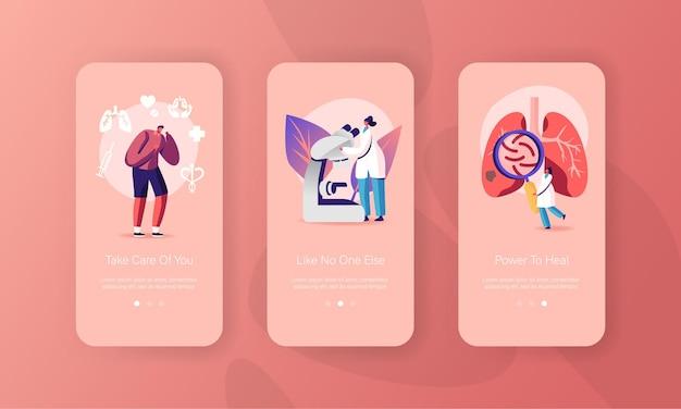 Modelli di schermo a bordo della pagina dell'app per dispositivi mobili dell'esame del sistema respiratorio.