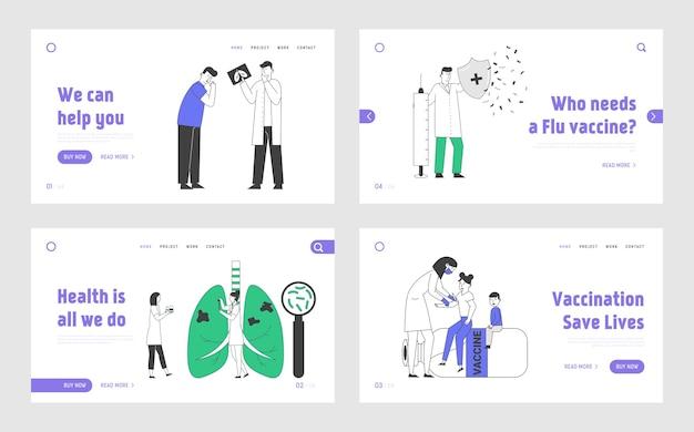 Set di pagine di destinazione del sito web per esame respiratorio e immunizzazione sanitaria.