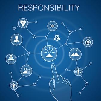 Concetto di responsabilità, delega di sfondo blu, onestà, affidabilità, icone di fiducia