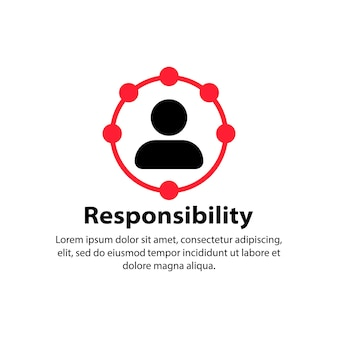 Icona di responsabilità. circolo, lavoratore. vettore su sfondo bianco isolato. env 10.
