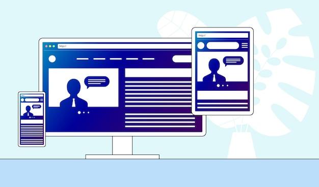 Responsive adaptive web design sito web aperto su dispositivi computer pc monitor tablet smartphone