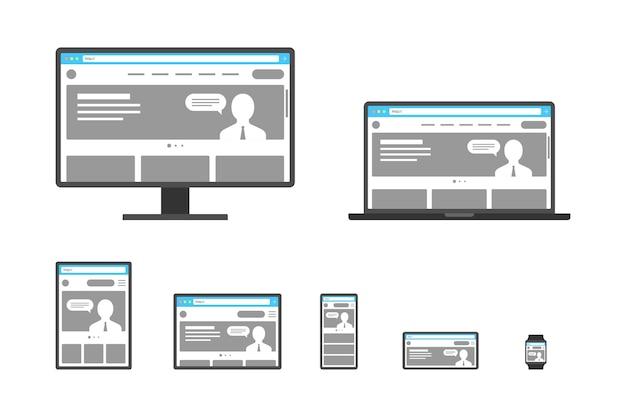 Responsive adaptive web design sito web aperto su dispositivi computer pc monitor tablet smartphone Vettore Premium