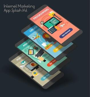 Modello di schermate di avvio di app per dispositivi mobili interfaccia utente marketing reattivo con illustrazioni alla moda
