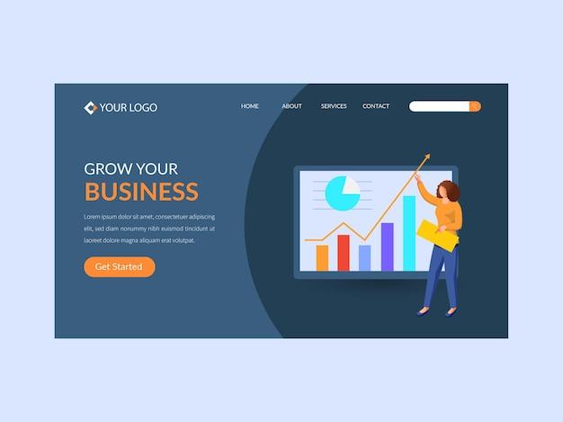 Design reattivo della pagina di destinazione con analista donna mantieni i dati per far crescere il tuo concetto di business.