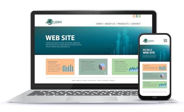 Progettazione di siti web reattivi con computer portatile e illustrazione dello schermo del telefono cellulare
