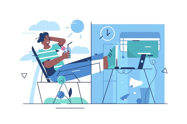 Riposo e equilibrio tra lavoro. libero professionista uomo che lavora in linea stile piatto. lavoro a distanza e concetto di freelance.