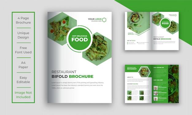 Modello di brochure ristorante bi piega