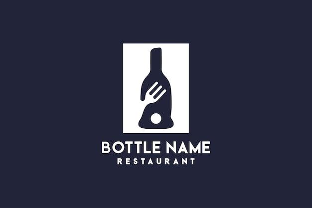 Simbolo delle posate del logo del concetto di bottiglia del ristorante