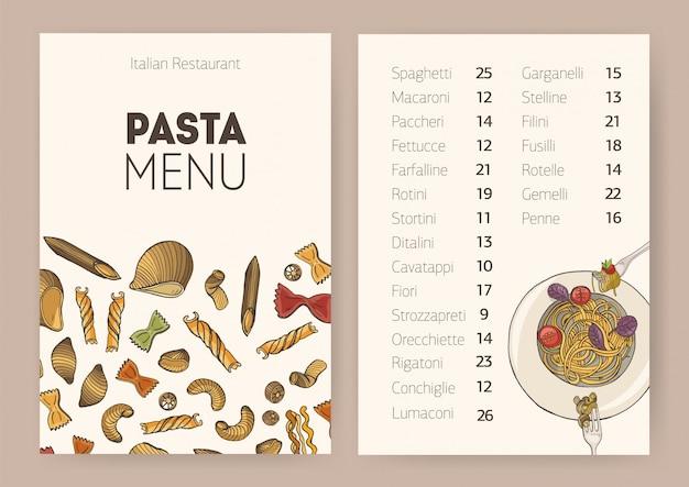 Modello di menu da pranzo ristorante o bar con piastra