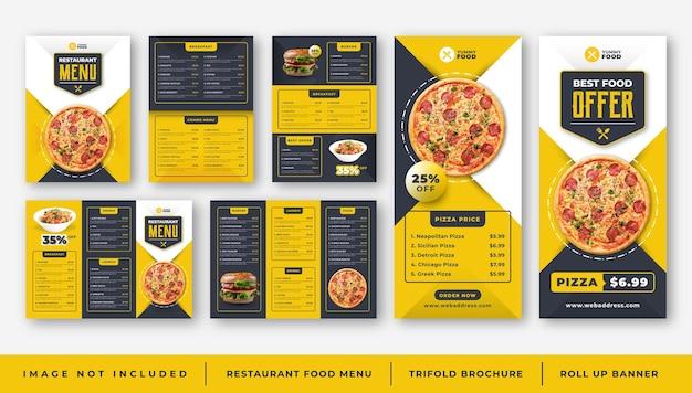 Menu del cibo del ristorante caffetteria, modello di brochure a tre ante, set di banner roll up
