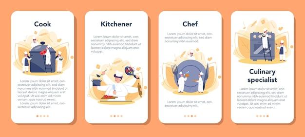 Chef del ristorante che cucina set di banner di applicazioni mobili