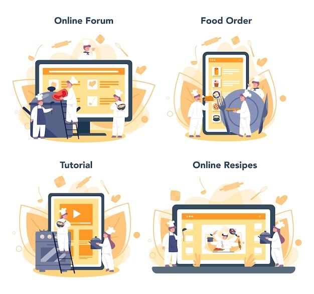 Servizio online di chef del ristorante o set di piattaforme