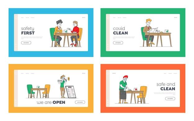 Set di modelli di pagina di destinazione per la disinfezione del ristorante
