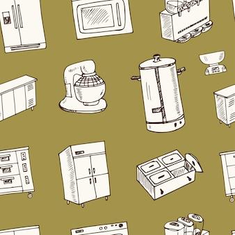 Modello senza cuciture di doodle disegnato a mano dell'attrezzatura del ristorante