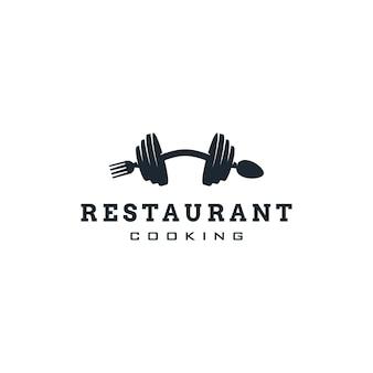 Ristorante fitness palestra logo design con forchetta cucchiaio e simbolo bilanciere concetti sportivi