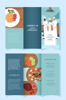Brochure pubblicitaria per ristorante e consegna di cibo. cucina europea e asiatica. cibo gustoso per colazione, pranzo e cena. libretto o volantino di consegna del cibo. illustrazione