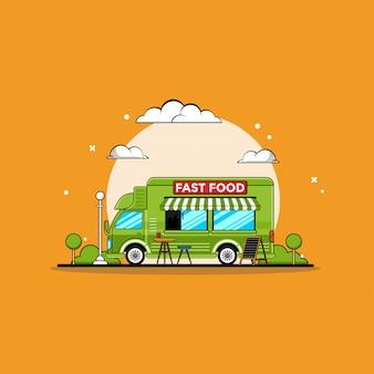 Camion di consegna del cibo del ristorante con l'illustrazione delle icone del pasto.