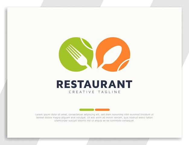 Logo del cibo del ristorante con design di cucchiaio e forchetta