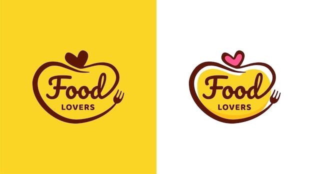 Modello di progettazione del logo per gli amanti del cibo del ristorante