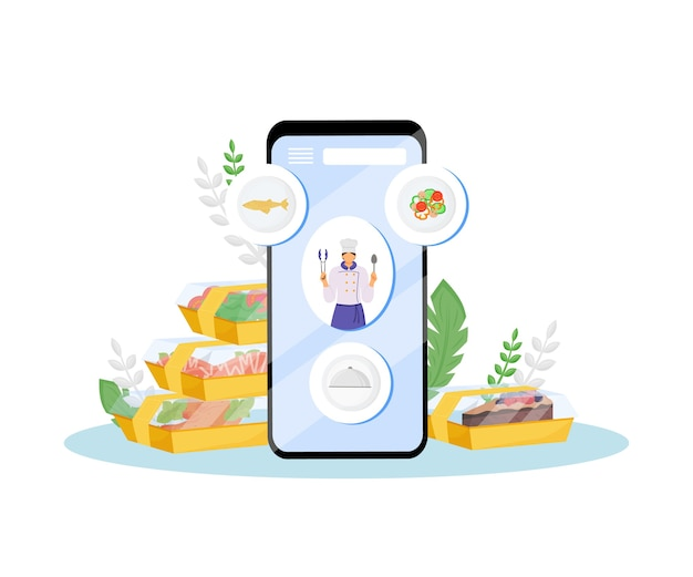 Ordine online del cibo del ristorante e illustrazione di concetto di design piatto di consegna
