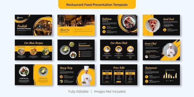 Disegno del modello di diapositiva di presentazione del cibo del ristorante