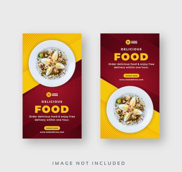 Modello di set di storie sui social media per cibo da ristorante