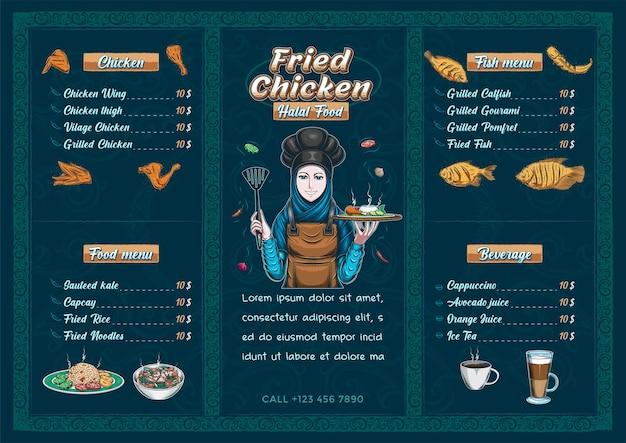 Modello di menu di cibo halal del ristorante