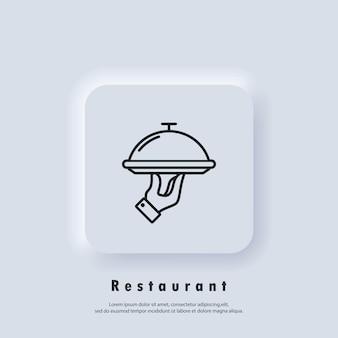 Icona del ristorante. vassoio di cibo. icona di servizi di ristorazione. vettore. pulsante web dell'interfaccia utente di neumorphic ui ux bianco. neumorfismo