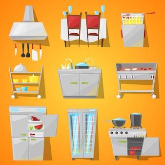 Mobilia interna del caffè del ristorante ed elettrodomestico da cucina di sala da pranzo nell'insieme interno dell'illustrazione della caffetteria arredata di cottura del frigorifero e del forno dell'attrezzatura isolati su fondo