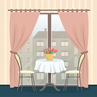 Ristorante interno in stile classico. tavolo con sedie vicino alla finestra panoramica.