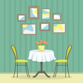 Ristorante interno in stile classico. tavolo con sedie vicino al muro con foto.
