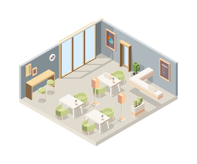 Ristorante isometrico. pareti vetrina interni moderne caffetteria pareti mobili 3d pavimenti low poly. piano interno 3d isometrico illustrazione ristorante