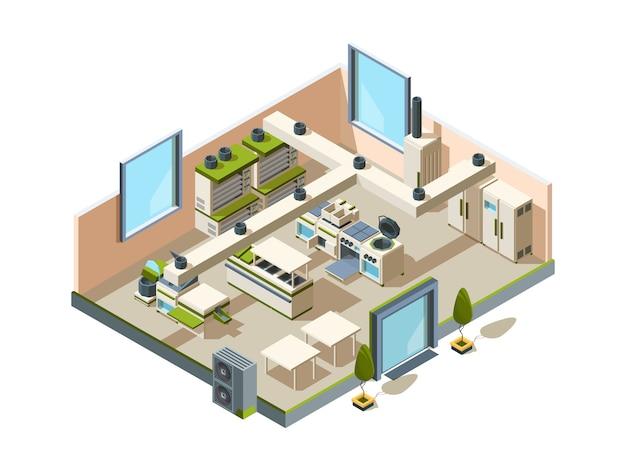 Cucina del ristorante. interiore del caffè con attrezzature di mobili per cucinare e rendere isometrici forni frigoriferi tavoli in acciaio alimentare