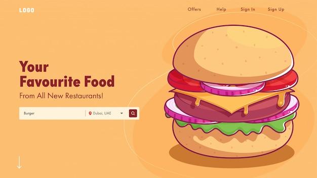 Pagina di destinazione del ristorante o banner web con l'illustrazione deliziosa dell'hamburger.